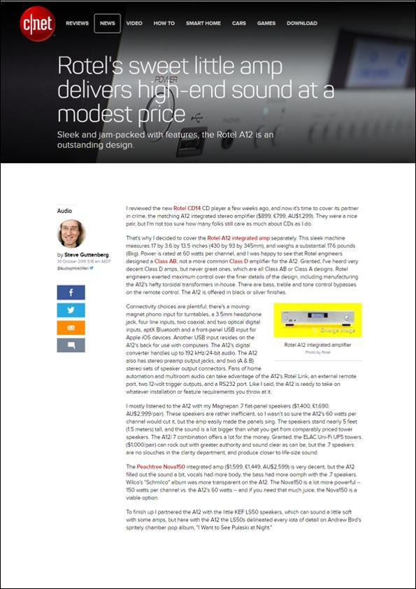 Excelentes críticas de los modelos CD14 y el amplificador integrado A12 de ROTEL en Cnet