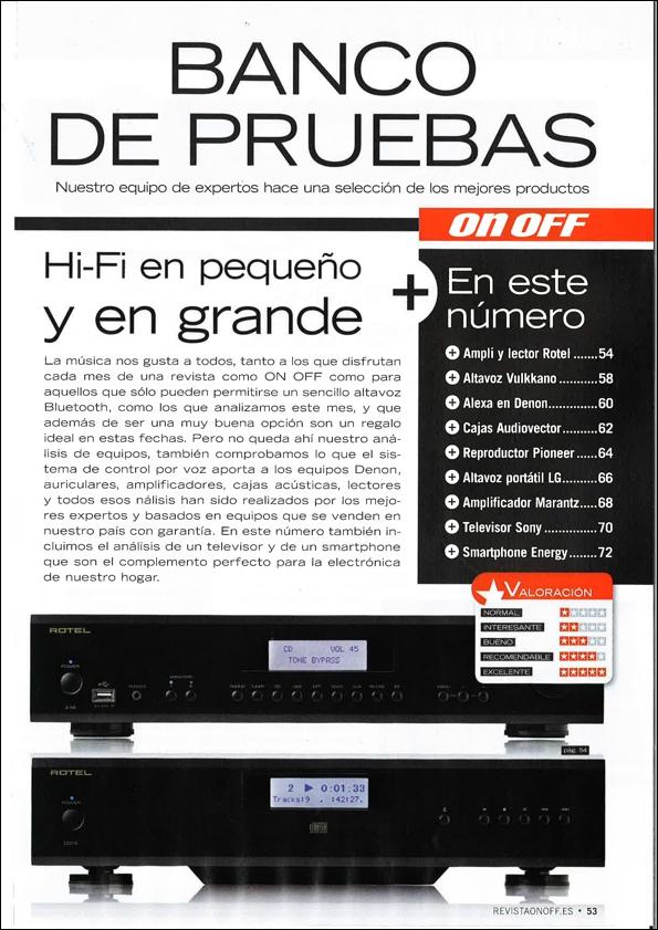 ON-OFF 287 Banco de Pruebas ROTEL 14 Series