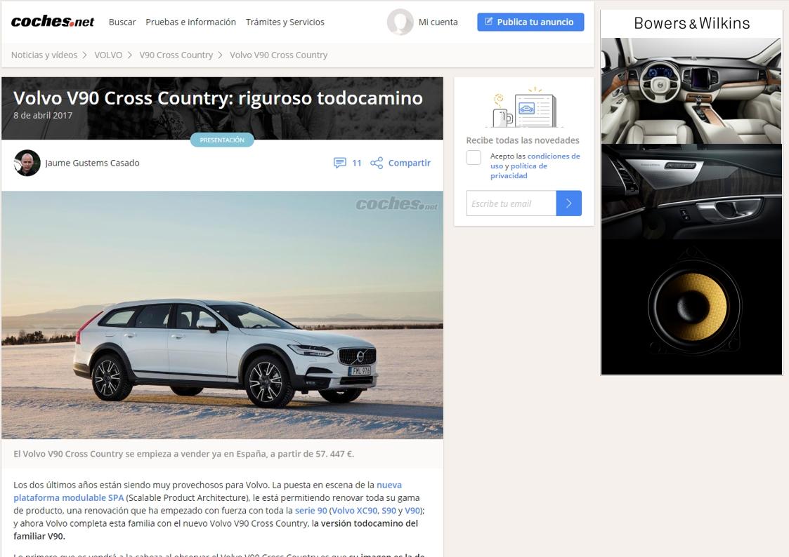 coches.net: Sonido Bowers & Wilkins en el nuevo Volvo V90 Cross Country